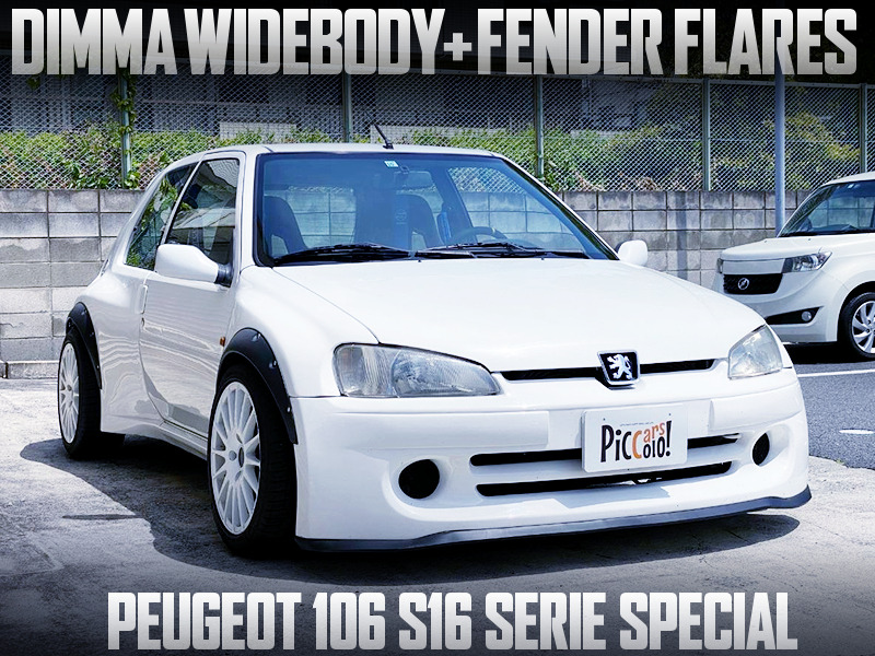 PEUGEOT 106 S16 SERIE SPECIAL with DIMMA WIDEBODY and FENDER FLARES.