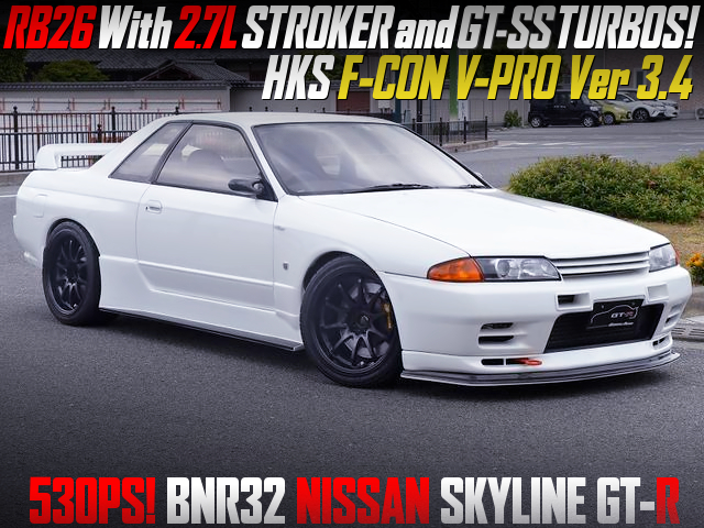 RB26 with 2.7L and GT-SS TURBOS into R32 GT-R WHITE.