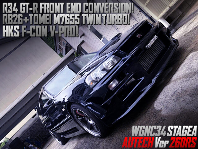 R34GTR FRONT END SWAP and M7655 TWIN TURBO MODIFIED WGNC34 STAGEA AUTECH Ver 260RS.
