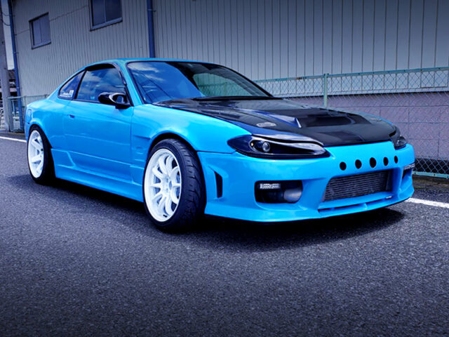 FRONT EXTERIOR OF S15 SILVIA LIGHT BLUE.
