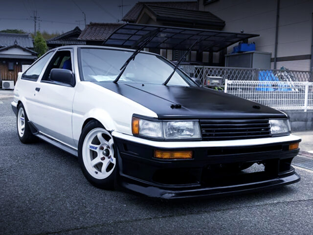FRONT EXTERIOR OF AE86 LEVIN GTV.