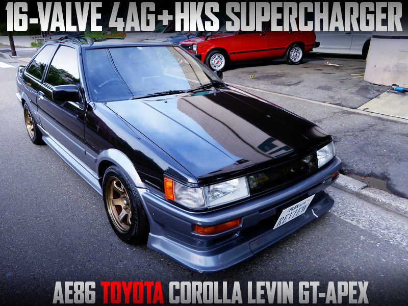 HKS SUPERCHARGED 4AGE into AE86 COROLLA LEVIN GT APEX.