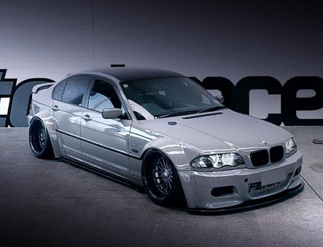 FRONT EXTERIOR OF E46 BMW 318i SEDAN WIDEBODY.