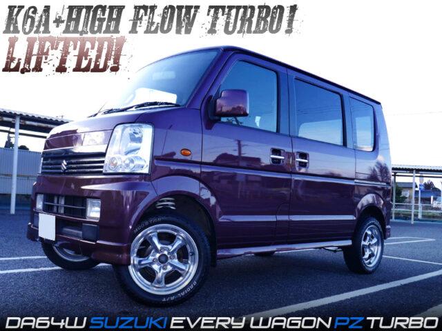 LIFTED and HIGH FLOW TURBO MODIFIED DA64W SUZUKI EVERY WAGON PZ TURBO.
