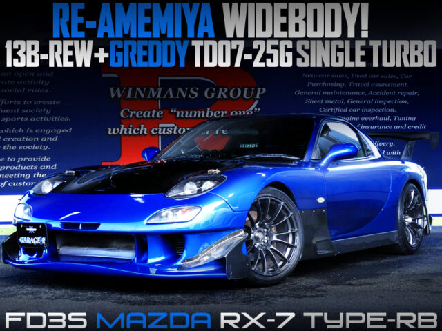 TD07-25G SINGLE TURBO and RE-AMEMIYA WIDEBODY MODIFIED FD3S RX-7 TYPE-RB.