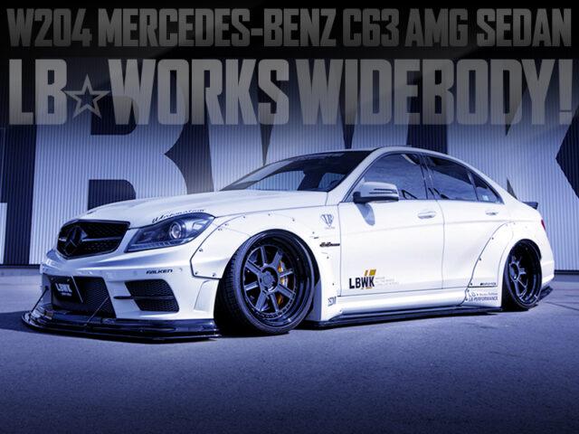 LB WORKS WIDEBODY INSTALLED W204 MERCEDES BENZ C63 AMG SEDAN.