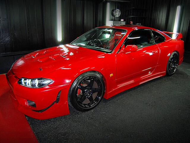 FRONT LEFT-SIDE EXTERIOR OF S15 SILVIA SPEC-R of RED COLOR.