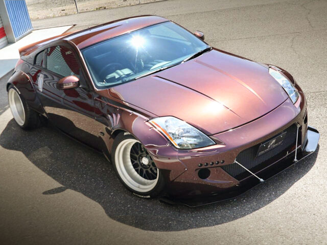 FRONT EXTERIOR OF Z33 FAIRLADY Z With MAROON PAINT.