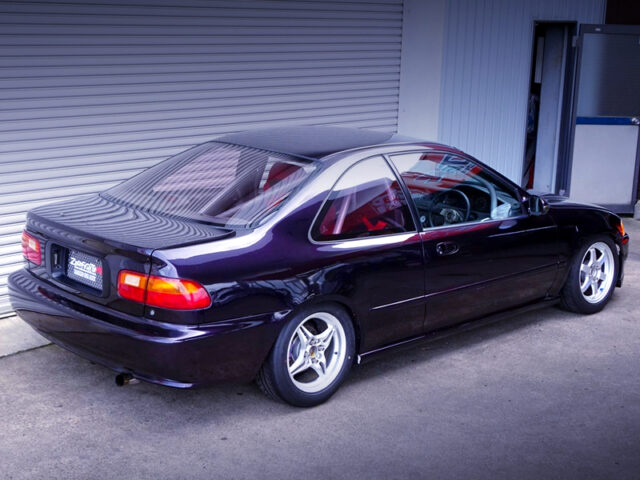 REAR EXTERIOR OF EJ1 CIVIC COUPE.
