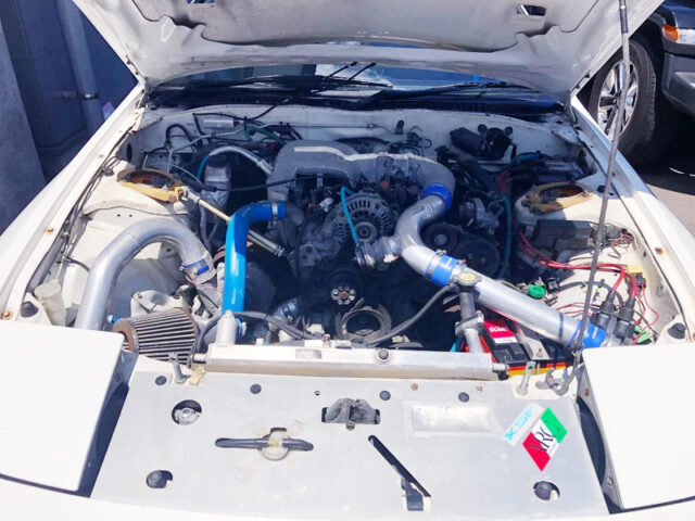 HKS TURBOCHARGED 13B-T ROTARY ENGINE with FD3S UPPER INTAKE MANIFOLD and THROTTLE BODY.