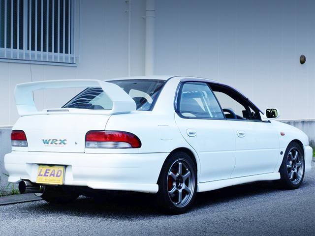 REAR EXTERIOR OF GC8 IMPREZA WRS STi V6.