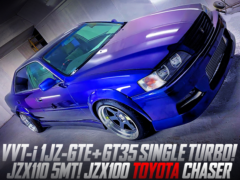 1JZ-GTE with GT35 SINGLE TURBO and JZX110 5MT MODIFIED OF JZX100 CHASER WIDEBODY.