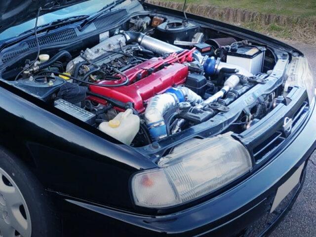 PULSAR GTI-R SR20DET TURBO ENGINE into P10 PRIMERA ENGINE ROOM.