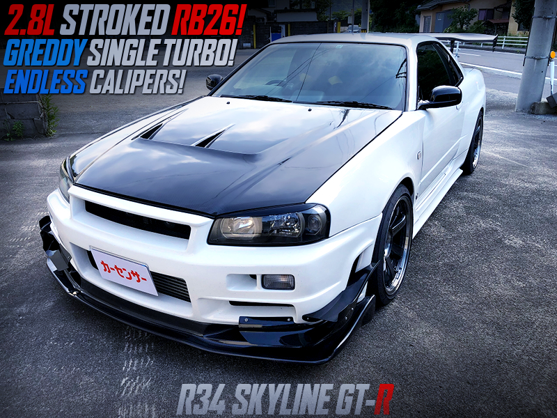 RB26 With 2.8L STROKER and GREDDY SINGLE TURBO into R34 GT-R.