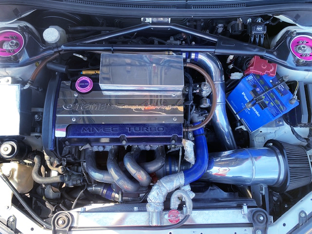 500HP GTX3076R SINGLE TURBOCHARGED 4G63 MIVEC ENGINE.