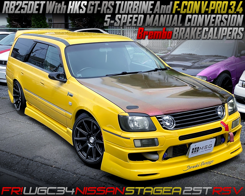 5MT CONCERSINON and GT-RS TURBINE MODIFIED OF WGC34 STAGEA 25t RS V.