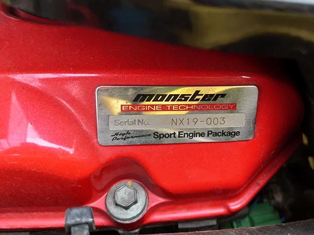MONSTER SPORT NX19 ENGINE SERIAL PLATE