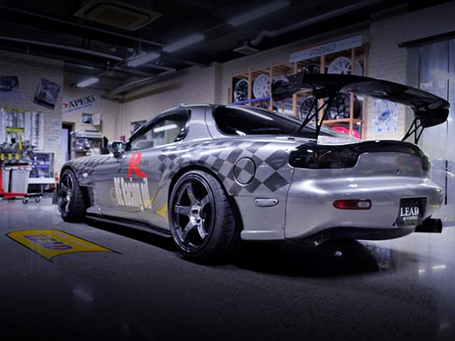 REAR EXTERIOR OF FD3S RX-7 with AFFLUX WIDEBODY.