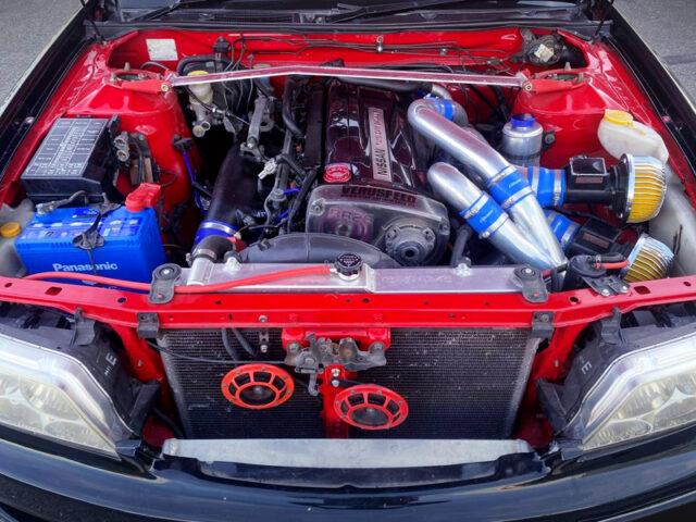 RB26DETT 2.6L TWIN TURBO ENGINE into C35 LAUREL ENGINE ROOM.