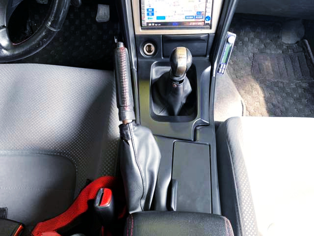 EMERGENCY BRAKE and 6-SPEED SHIFT KNOB of R34 GT-R.