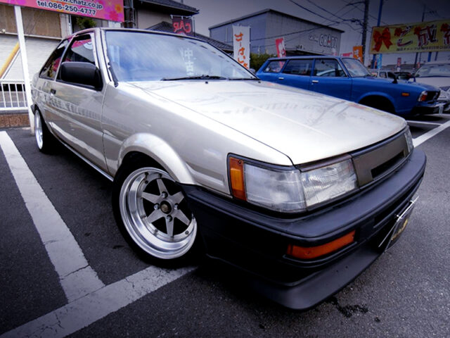 FRONT EXTERIOR of AE85 LEVIN 2-DOOR 1500 LIME.