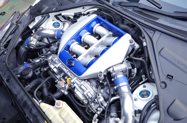 HKS PISTONS and CONNECTING RODS INSTALLED VR38DETT with GT800 FULL TURBINE KIT.