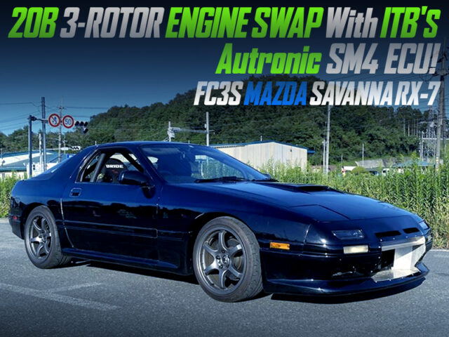 20B 3-ROTOR ENGINE with individual throttle bodies SWAPPED FC3S RX-7.