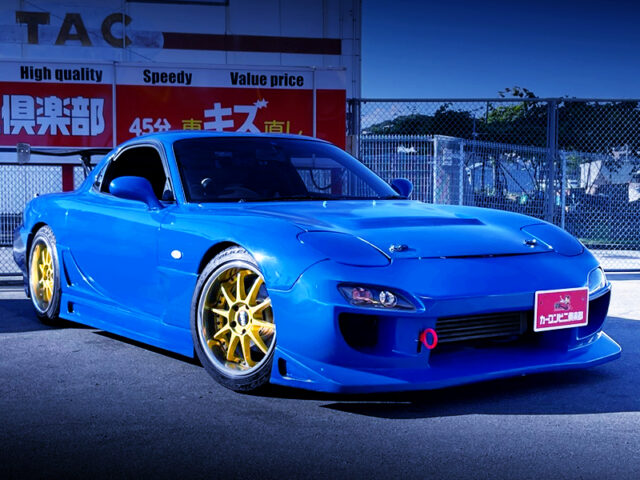 FRONT EXTERIOR OF FD3S RX-7 TYPE-R BLUE PAINTED.