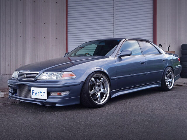 FRONT EXTERIOR OF JZX100 MARK 2 TOURER-V with SUBARU COOL GRAY PAINT.