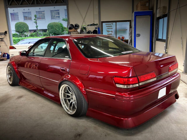 REAR EXTERIOR of JZX100 MARK2 With ITO-AUTO WIDEBODY and MAZDA SOUL RED PAINT.