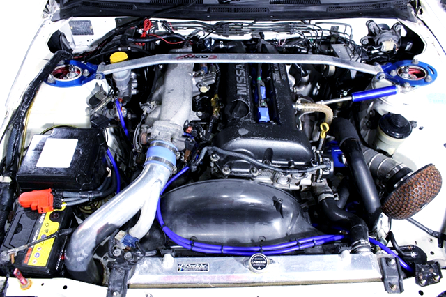 SR20DET TURBO ENGINE with TOMEI TURBOCHARGER.