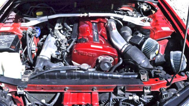 RB26DETT TWIN TURBO ENGINE into ENR34 SKYLINE 4-DOOR ENGINE ROOM.