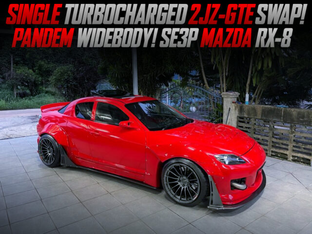 450HP SINGLE TURBOCHARGED 2JZ-GTE SWAPPED SE3P RX8 PANDEM WIDEBODY.
